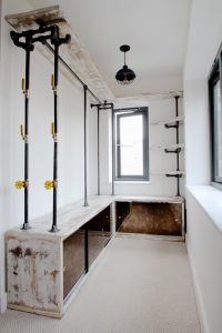 Industrial style corner dressing room system