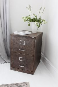 Bespoke Industrial reclaimed vintage 1960s chic stripped and distressed bare steel two drawer filing cabinet