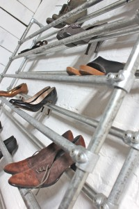 Bespoke galvanised pipe shoe rack
