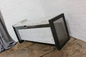 Industrial Steel Legged Bench Hallway Bench with matching roll out storage drawer