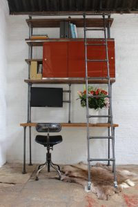Reclaimed Chestnut Stained Timber Urban Industrial Style office shelves and desk with sliding glass doors and a sliding ladder