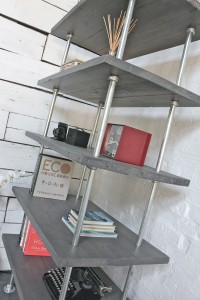 Urban reclaimed scaffolding board and galvanised steel pipe shelves