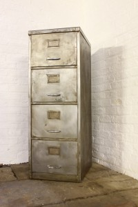 Reclaimed Vintage Urban Industrial 1940s Stripped Steel 4 Drawer Filing Cabinet