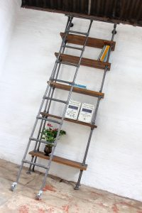Urban Industrial bookcase with access ladder