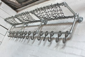 Bespoke industrial steel pipe luggage and coat rack
