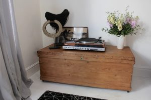 Bespoke industrial reclaimed vintage 1920s pine bedding box or chest