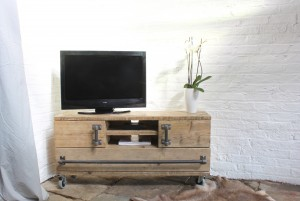 Industrial style reclaimed timber media unit