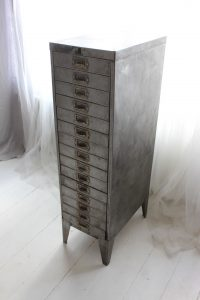 bespoke industrial reclaimed vintage 1940s stripped steel filing cabinet