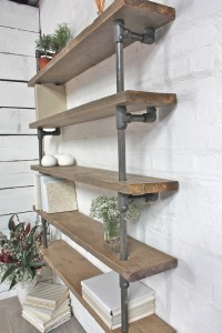 Urban bespoke reclaimed scaffolding wall shelving unit