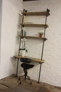 Bespoke reclaimed industrial scaffolding board and steel pipe shevles and bookcase with desk