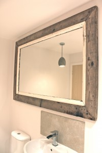 Bespoke urban reclaimed scaffolding board and white painted rail frame