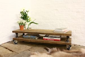 Chestnut Stained Reclaimed Scaffolding Board Double Layer Coffee Table with Dark Steel Risers and Rubber Castors