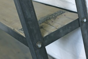 Bespoke reclaimed scaffolding boards and dark steel framed free standing shelf