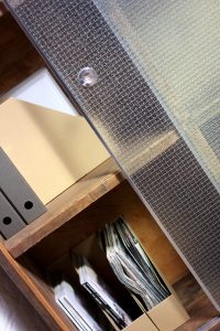 Bespoke Industrial Reclaimed Scaffolding Board Stationery Cupboard with Sliding Textured Wired Fire Safety Glass Doors