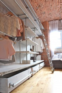 Bespoke industrial reclaimed scaffolding board open wardrobe with ladder