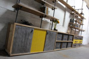 Reclaimed scaffoling osb board media unit with vintage filing cabinet