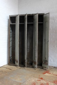 4 Vintage Stripped Steel School/Gym/Sports Lockers with aged Patina