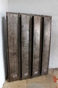 4 Vintage stripped reclaimed lockers