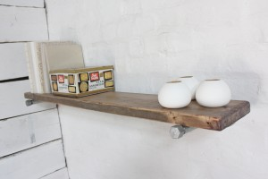 Bespoke wooden shelf and galvanised steel pipe