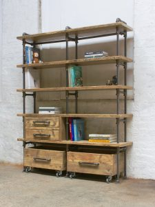 Reclaimed scaffolding board and steel pipe bookcase with storage drawers