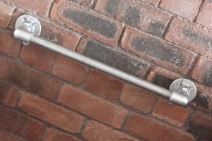 Industrial galvanised pipe towel rail