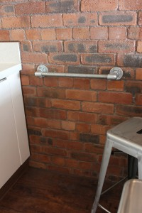 Industrial galvanised pipe towel rail
