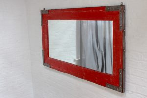 Bespoke Industrial reclaimed furniture distressed steel framed red painted mirror