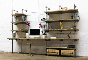 Bespoke urban reclaimed scaffolding desk with glass shelves