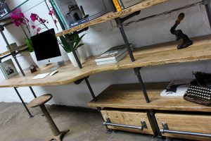 Bespoke urban reclaimed scaffolding desk with glass shelves