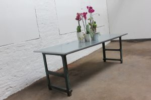 Bespoke industrial reclaimed vintage zinc topped table