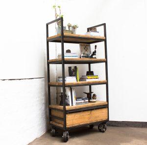 bespoke industrial reclaimed scaffolding and steel free standing shelf on castors