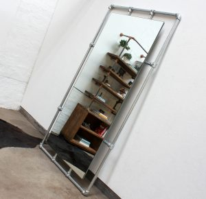 Bespoke industrial reclaimed full length galvanised steel pipe framed mirror