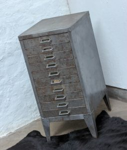 Bespoke industrial reclaimed vintage 1960s stripped and distressed bare steel filing cabinet