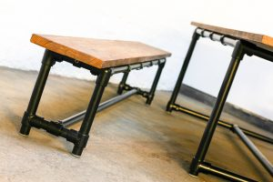 Bespoke industrial dining / meeting table with bench and stools