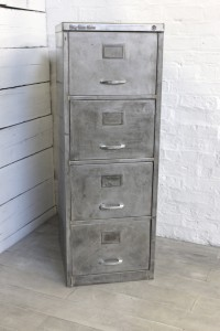 Reclaimed Vintage Urban Industrial Withy Grove Stores 1970's Stripped Steel 4 Drawer Filing Cabinet