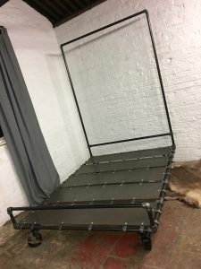 Bespoke Industrial urban reclaimed kindsize bed frame with dark steel pipe and perforated steel