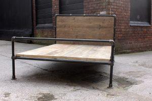 Bespoke reclaimed scaffolding board double bed frame