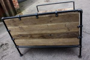 Bespoke reclaimed scaffolding board double bed frame