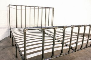 Bespoke Industrial urban reclaimed kindsize bed frame with dark steel pipe and scaffolding