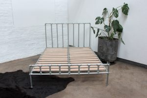 Bespoke Industrial urban reclaimed kindsize bed frame with galavanised steel pipe and scaffolding