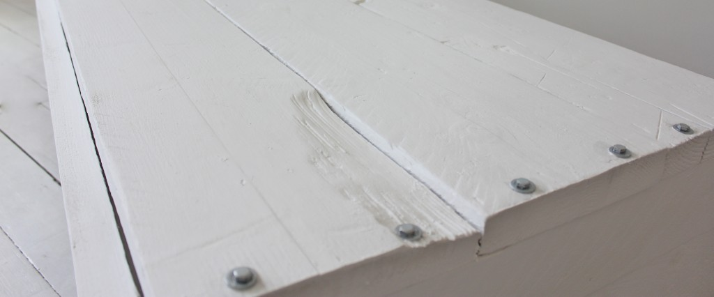 White washed scaffolding board