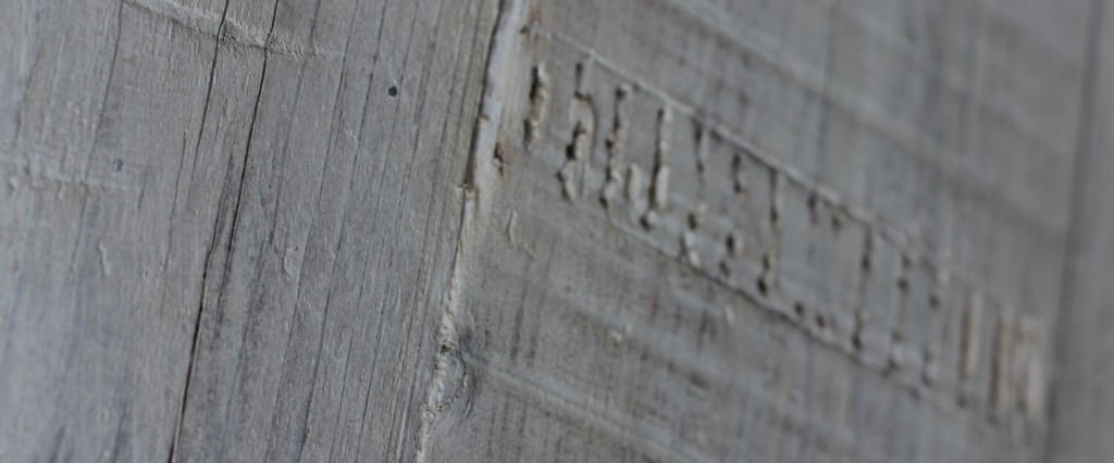 Close up of texture of reclaimed scaffolding board