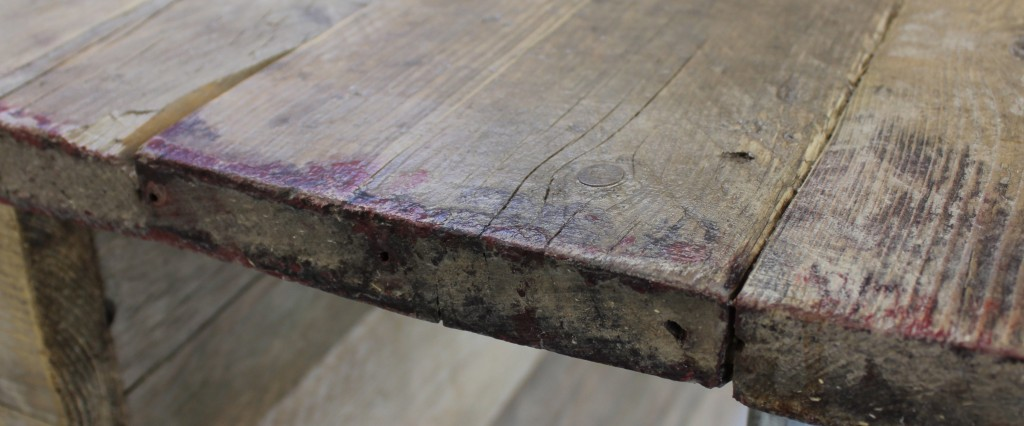 Reclaimed scaffolding board table