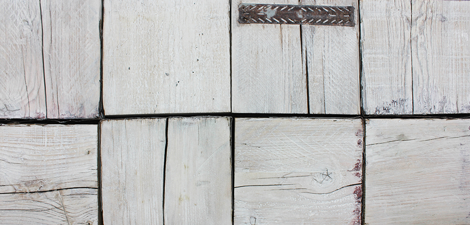 white washed reclaimed scaffolding board