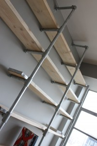 Bespoke urban reclaimed scaffolding shelving unit