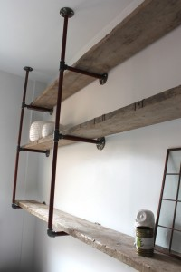 Urban bespoke scaffolding boards and steel pipe mounted shelving
