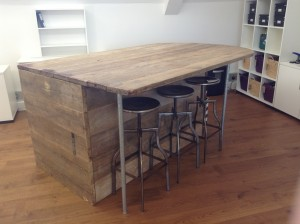 Bespoke urban reclaimed storage table