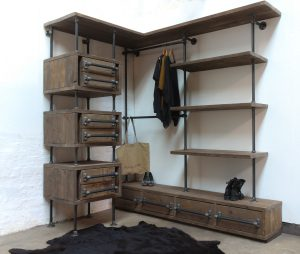 bespoke industrial reclaimed open wardrobe and storage