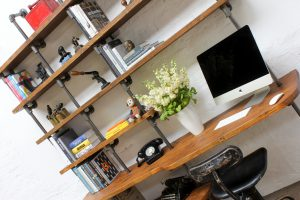 Reclaimed scaffolding desk and shelving unit